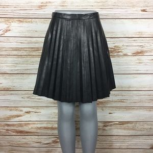 J. Crew Faux Leather Pleated Circle Skirt